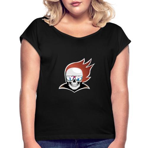 Hyped Skeleton - Frauen T-Shirt mit gerollten Ärmeln