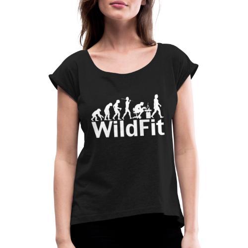 WildFit Logo Evolution Weiß - Frauen T-Shirt mit gerollten Ärmeln