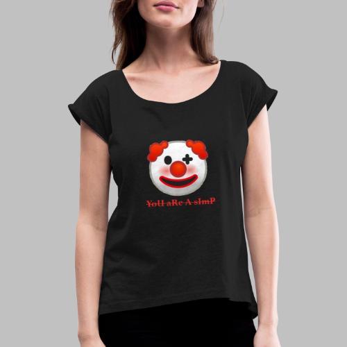 Clown Emoji - Vrouwen T-shirt met opgerolde mouwen