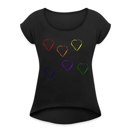 Tanzende Herzen 20.1 - Frauen T-Shirt mit gerollten Ärmeln