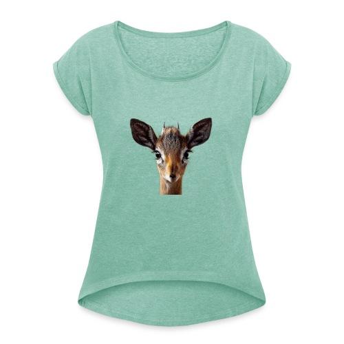 Antilope, Dik - Frauen T-Shirt mit gerollten Ärmeln
