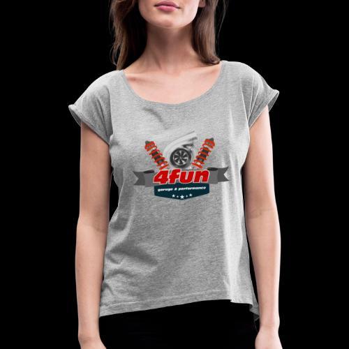 4fun tshirt - Koszulka damska z lekko podwiniętymi rękawami
