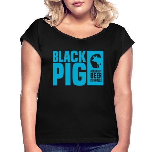 BlackPig Horizontal Bleu - T-shirt à manches retroussées Femme