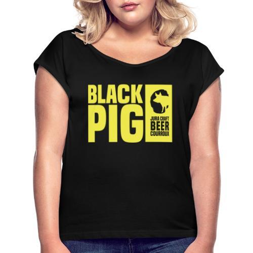 BlackPig Horizontal Jaune - T-shirt à manches retroussées Femme