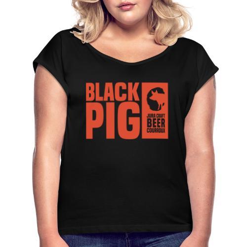 BlackPig Horizontal Orange - T-shirt à manches retroussées Femme