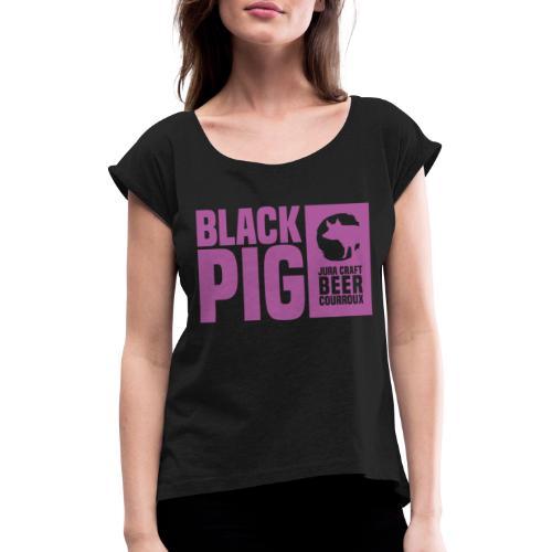 BlackPig Horizontal Purple - T-shirt à manches retroussées Femme