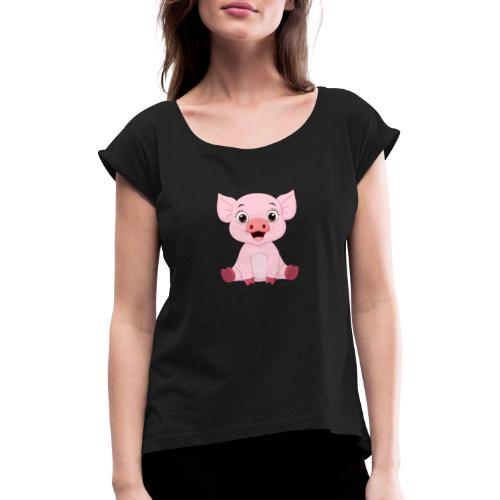 Mała świnka - Koszulka damska z lekko podwiniętymi rękawami