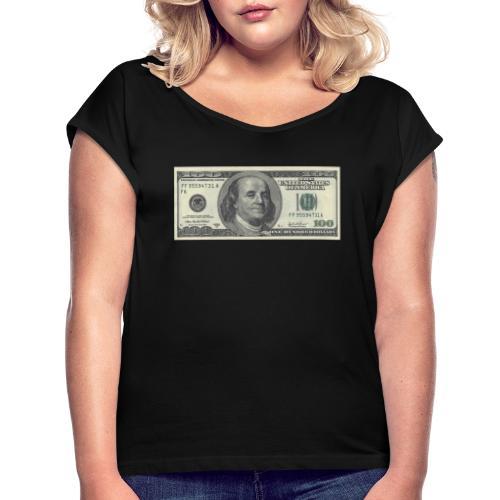 Dollar tegn box - Dame T-shirt med rulleærmer