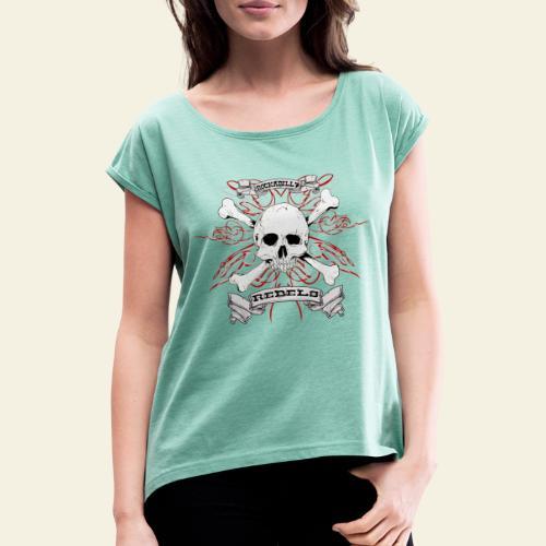 skull - Dame T-shirt med rulleærmer