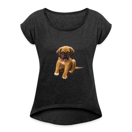 Süsses Haustier Welpe - Frauen T-Shirt mit gerollten Ärmeln