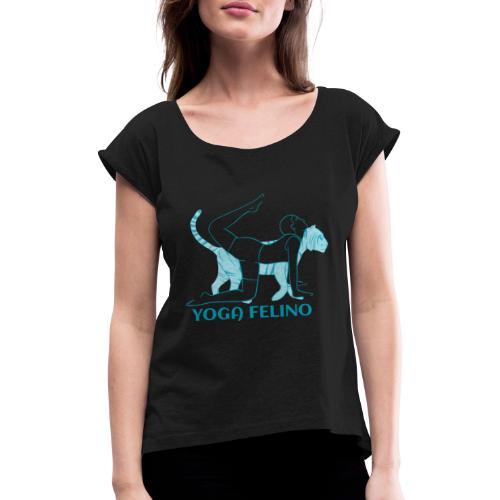 t shirt design YOGA FELINO - Maglietta da donna con risvolti