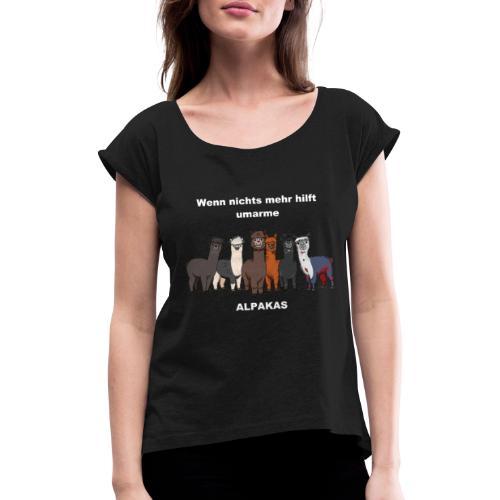 Shirt 2 BRAUN Alpakas - Frauen T-Shirt mit gerollten Ärmeln
