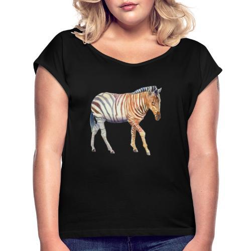Zebra grants - Dame T-shirt med rulleærmer