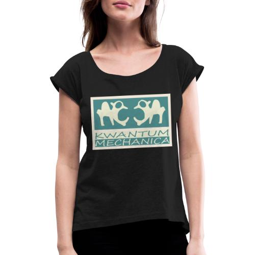 Kwantum logo 2 - Vrouwen T-shirt met opgerolde mouwen