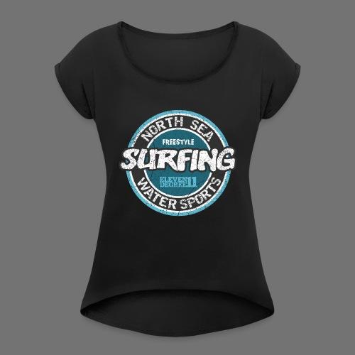 North Sea Surfing (oldstyle) - Koszulka damska z lekko podwiniętymi rękawami