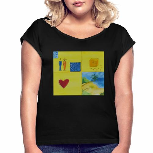 Viererwunsch - Frauen T-Shirt mit gerollten Ärmeln