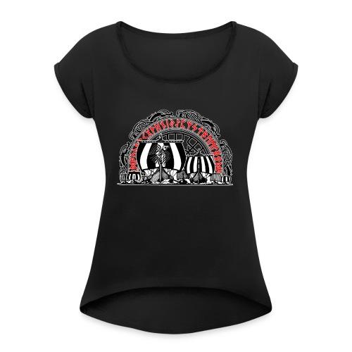 Schiffe mit Vegvisir - Frauen T-Shirt mit gerollten Ärmeln