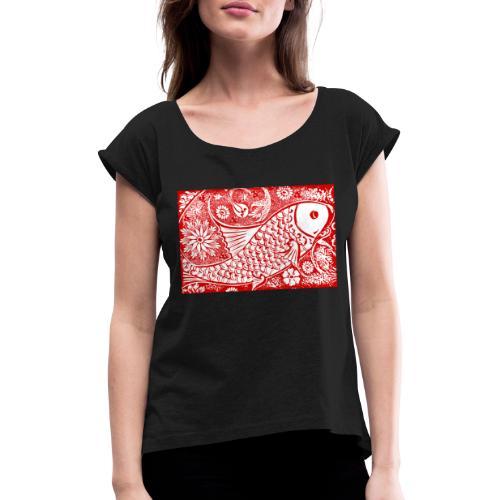 Fish in the sea - Vrouwen T-shirt met opgerolde mouwen