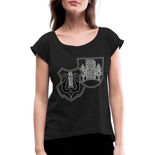 MVW Logo sw mit ws Rand transparent - Frauen T-Shirt mit gerollten Ärmeln