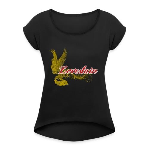 Lovestain - T-shirt med upprullade ärmar dam