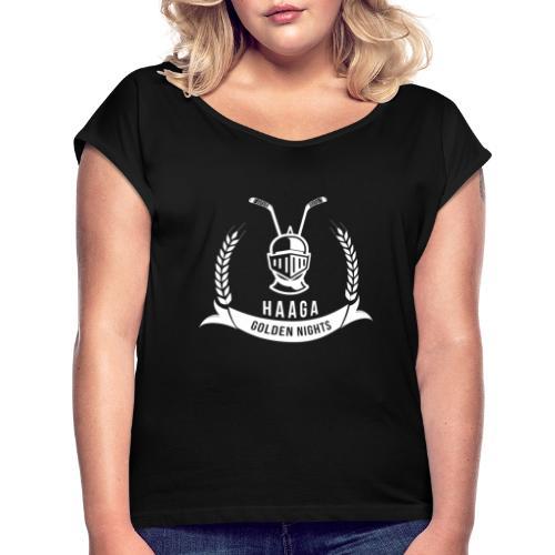 Haaga Golden Nights - White - Naisten T-paita, jossa rullatut hihat