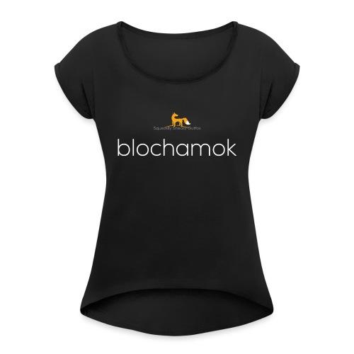 blochamok med r v hvid - Dame T-shirt med rulleærmer
