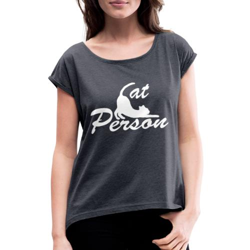cat person - weiss auf schwarz - Frauen T-Shirt mit gerollten Ärmeln