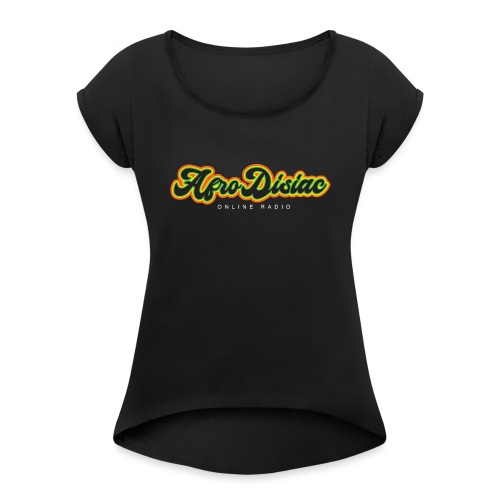 Afro Disiac Tag Logo - Women's T-Shirt with rolled up sleeves