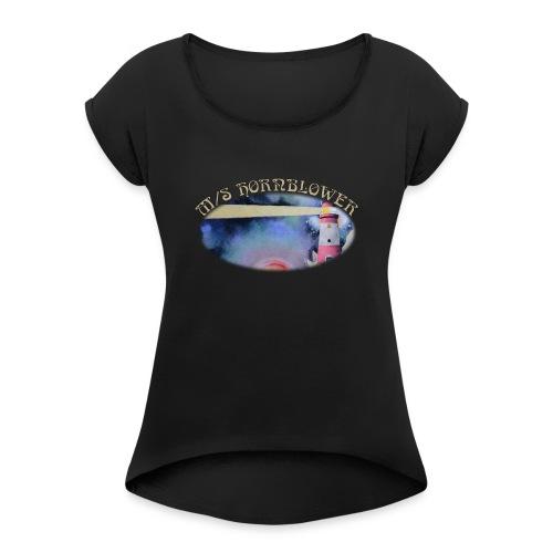 Light the Universe Front and Back - Naisten T-paita, jossa rullatut hihat