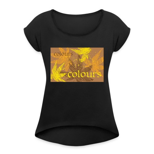 autumn theme - Koszulka damska z lekko podwiniętymi rękawami