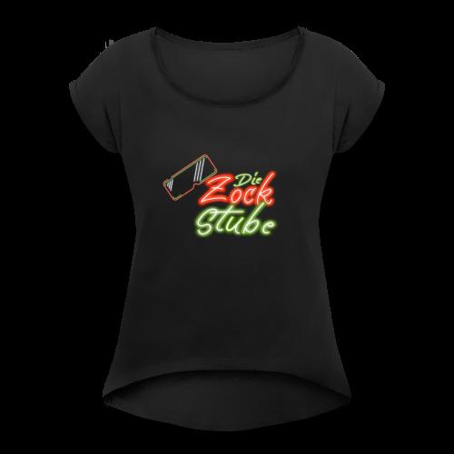 logo quadratisch - Frauen T-Shirt mit gerollten Ärmeln
