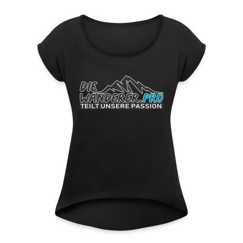 Die Wanderer Logo Shirt - Frauen T-Shirt mit gerollten Ärmeln