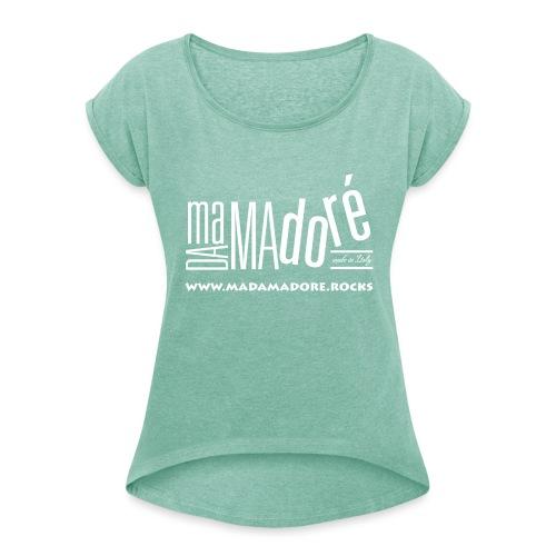 T-Shirt Premium - Donna - Logo Bianco + Sito - Maglietta da donna con risvolti