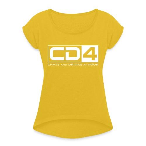 cd4 logo dikker kader bold font - Vrouwen T-shirt met opgerolde mouwen