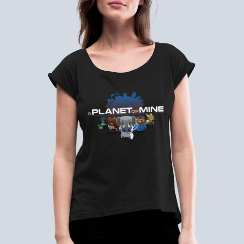 logo planetofmine dark HD - T-shirt à manches retroussées Femme