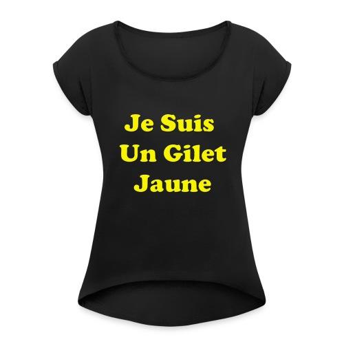 Gilet Jaune - T-shirt à manches retroussées Femme