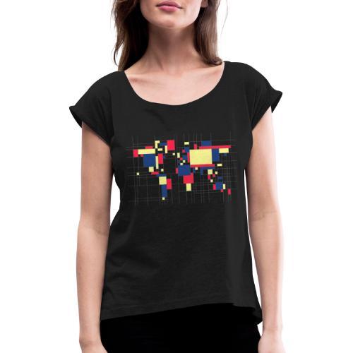 C001 - Camiseta con manga enrollada mujer