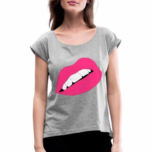 Usta - Koszulka damska z lekko podwiniętymi rękawami