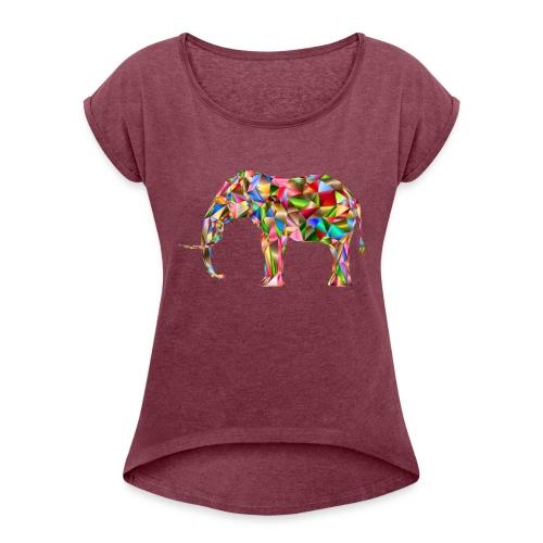 Gestandener Elefant - Frauen T-Shirt mit gerollten Ärmeln
