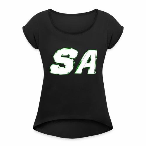 Vit SA Logo - T-shirt med upprullade ärmar dam
