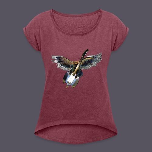 Greifvogel mitGitarrenbeute - Frauen T-Shirt mit gerollten Ärmeln