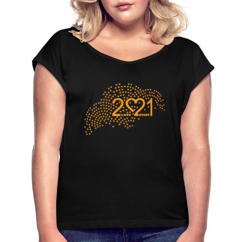 2021 logo t skjorte - T-skjorte med rulleermer for kvinner