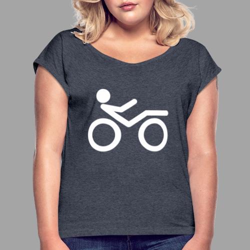 Recumbent bike white 2 - Naisten T-paita, jossa rullatut hihat