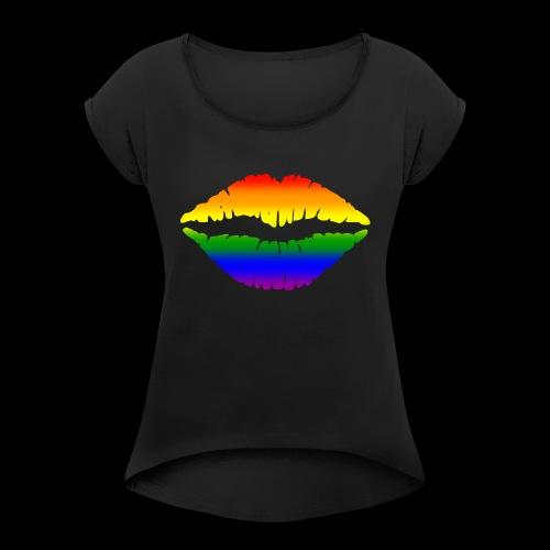 Gay Gesichtsmaske - Frauen T-Shirt mit gerollten Ärmeln