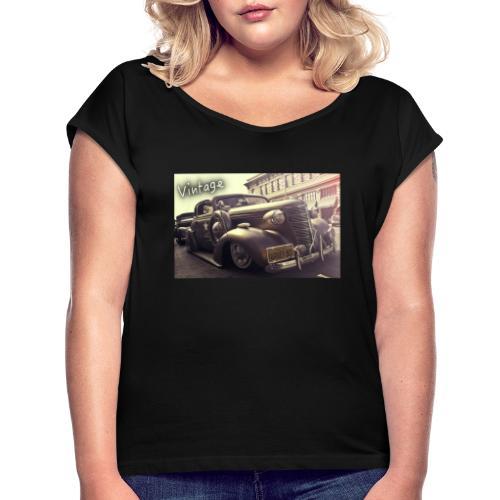 Vintage Car - Frauen T-Shirt mit gerollten Ärmeln