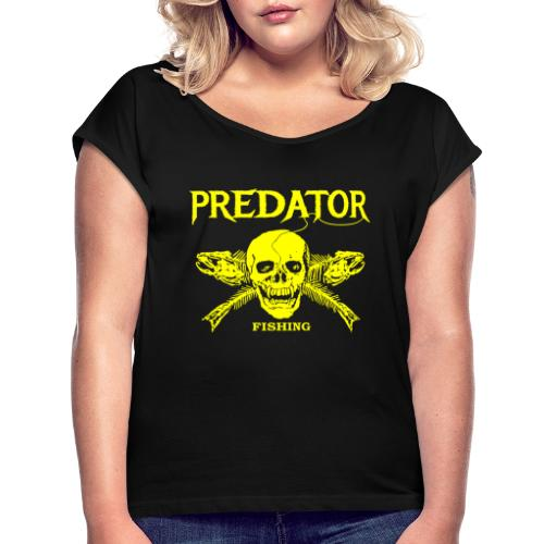 Predator fishing yellow - Frauen T-Shirt mit gerollten Ärmeln
