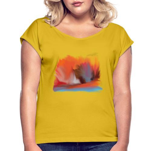 Explosion - T-shirt med upprullade ärmar dam