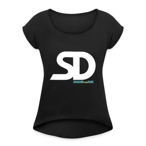 SD T-SHIRT NAVY - Vrouwen T-shirt met opgerolde mouwen