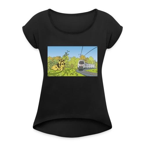 Raupe und Zug - Frauen T-Shirt mit gerollten Ärmeln