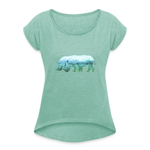 RHINOS, DIE NASHÖRNER IN DEN ALPEN - Frauen T-Shirt mit gerollten Ärmeln